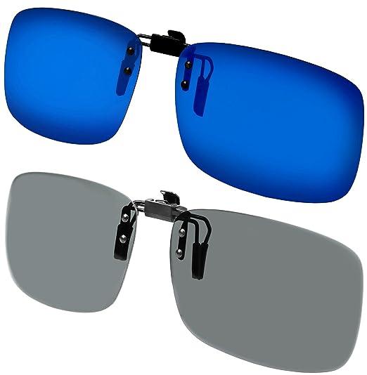415ffbfa95 Amazon.com  Clip on Sunglasses Polarized Flip Up Clip onto prescription  eyeglasses Set of 2 for Men and Women Set of Blue Mirror + Smoke Lens   Clothing