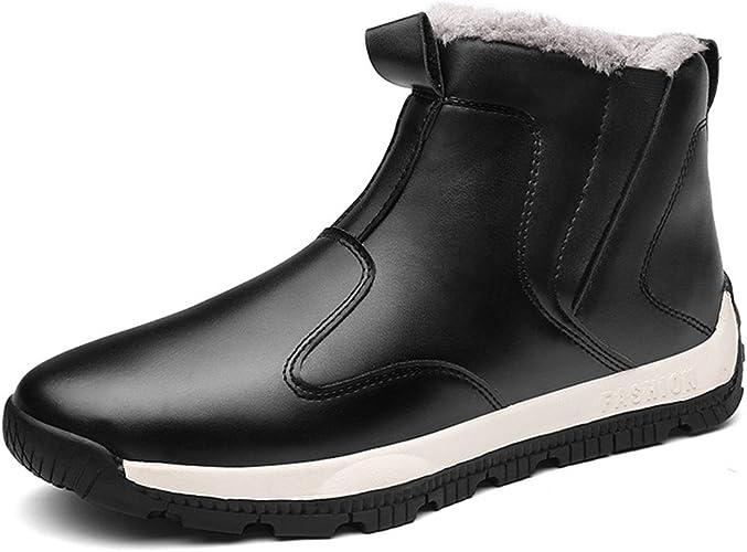 Men Winter Leather Ankle Snow Boots Slip-on Fur Lined Warm Waterproof Sneakers