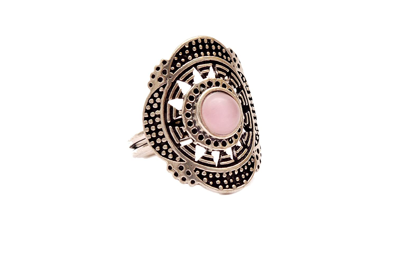JD/&JD Silver Plated Pink Onyx Gemstone Oxidized Adjustable Ring Jewelry KE1327