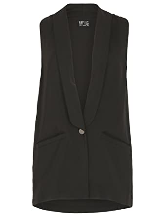 70766bc1d46b57 Poppy Lux Womens Ladies Freesia Sleeveless Jacket Blazer Coat Top Clothing  10  Amazon.co.uk  Clothing