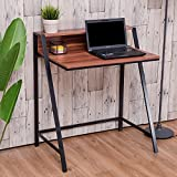 Tangkula 2 Tier Computer Desk Home Office Wood Writing Table Works