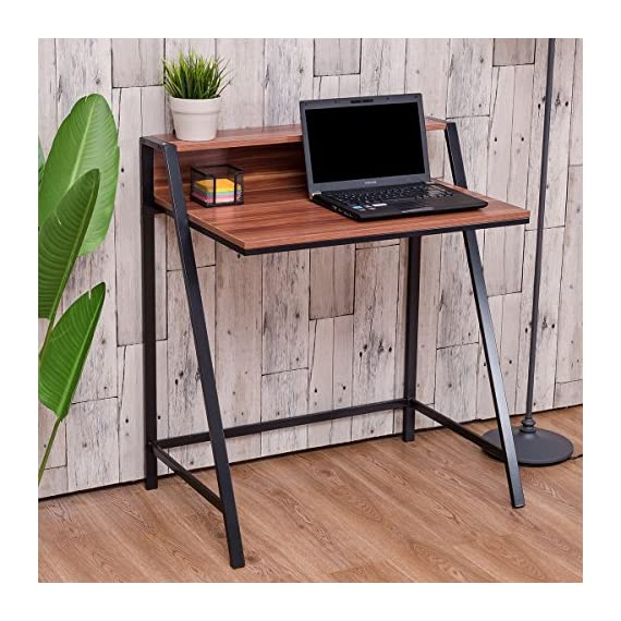 Surprising Tangkula Small Gaming Desk 2 Tier Computer Desk Home Office Wood Sturdy Frame Compact Writing Table For Small Place Apartment Dom Office Furniture Download Free Architecture Designs Momecebritishbridgeorg