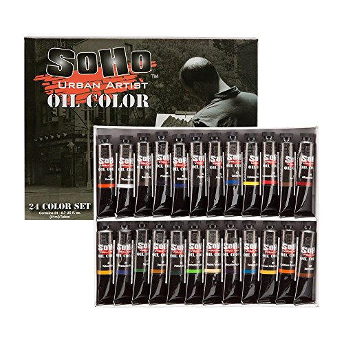 (SoHo Urban Artist Oil Color Set - Artist Oils Butter Consistency, Excellent Pigment Load with Lightfast Results - Set of 24 Oils of Assorted Colors)