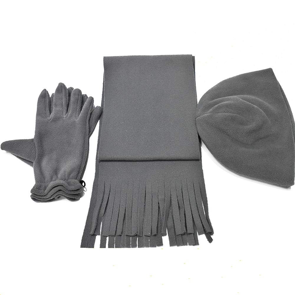 3 pezzi Beanie cappello sciarpa guanti set, regali donna solido inverno caldo pile guanti sciarpa Beanie set Taglia libera Beige Lionina