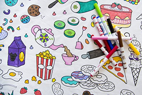 The Coloring Table - Colorable Food Fun Tablecloth - Square