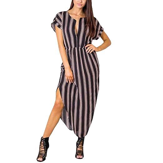 539eaf292448 YOINS Black-Brown Stripe Pattern V Neck Short Sleeves Mini Dress Drawstring Waist  Dress for