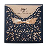 Doris Home Blue Square Laser Cut Wedding Invitation Cards Kit with Hollow Flora Favors 50pcs,CW6179B(50, Blue)