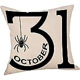 Halloween Horrible Cushion Cover, Malltop Witch Ghost Bats Pumpkin Home Decor Pillow Cases (Style E)
