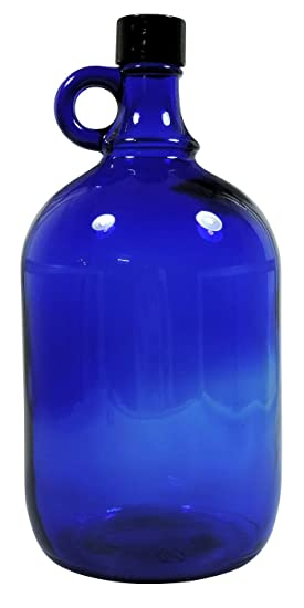 Viva Haushaltswaren – Azul XL Botella de cristal 2 litros de llenarlos, con rosca Negra