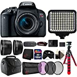 Canon EOS Rebel T7i 24.2MP DSLR Camera + 18-55mm + 58mm Filter Kit + Telephoto & Wide Angle Lens + 32GB Memory Card + Wallet + Reader + Led Video Light + Case + Flexible Tripod + 3pc Cleaning Kit