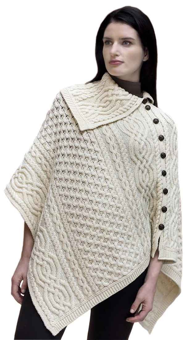 Carrolls Irish Gifts Ladies Traditional Buttoned Cowl Neck Poncho, Natural Colour