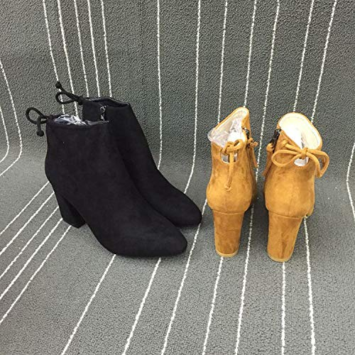 Zapatos Invierno Hoesczs Boots Gruesas Cremallera Women's Tacón E Otoño Mujer Martin Black De Lateral Botas Para Con Niños Alto Encaje aqffxFBRw