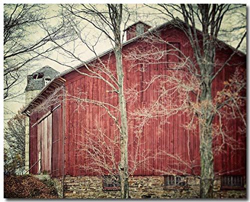 (Red Farmhouse Decor Unframed 8x10