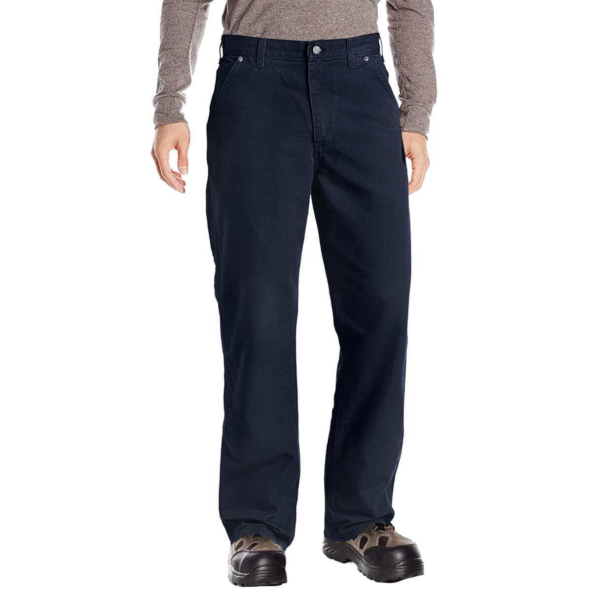 DuraDrive Men's Loose Fit Garment Washed Duck Canvas Work Dungaree Carpenter Pants