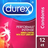 Durex Condoms, Ultra Fine, Ribbed, Dotted with Delay Lubricant, Durex Performax Intense Natural Latex Condoms, 12 Count