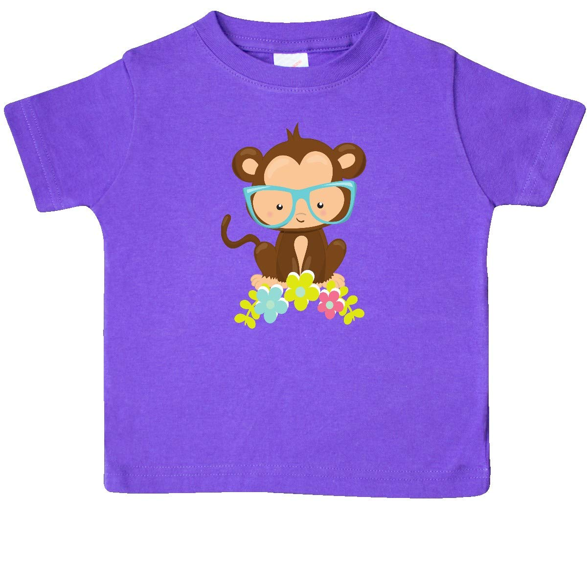 Colorful Flowers Baby T-Shirt inktastic Cute Monkey with Eyeglasses