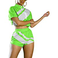 acelyn Women 2 Piece Outfit Short Sleeve Color Stripe T-Shirts Bodycon Shorts Set Tracksuit Jumpsuit Rompers