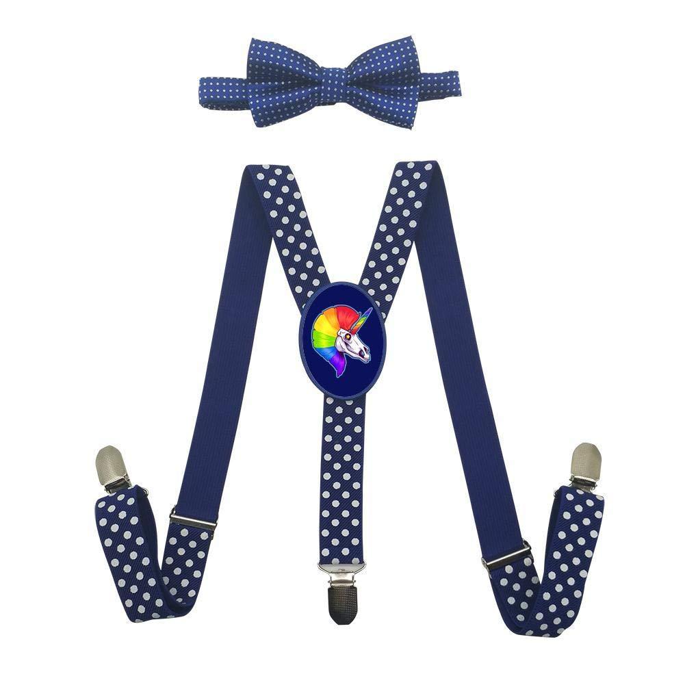 Grrry Unisxes Unicorn Skull Adjustable Y-Back Suspenders /& Bowtie Set