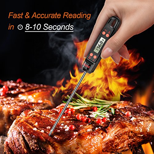 Habor Cooking Thermometer Meat Digital Instant Read Thermometer with 5.5in Long Probe, ºF/ºC Button for Food, Kitchen, BBQ, Grill, Beef, Turkey, Candy, Milk, Water