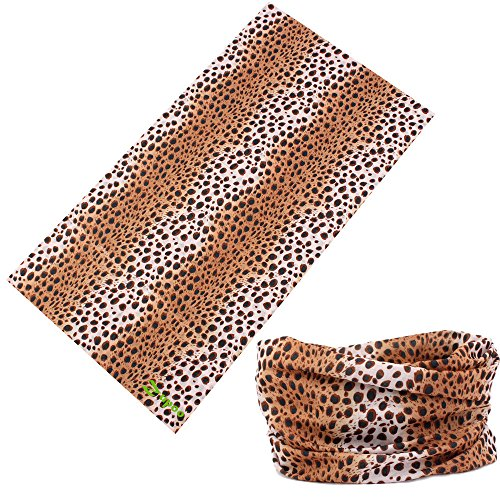 Zupoo(TM) Leopard Print Series 16-in-1 Multifunctional Headband Magic Scarf,Magic Bandanas,Collars Muffler Scarf Face Mask,Brown Strip