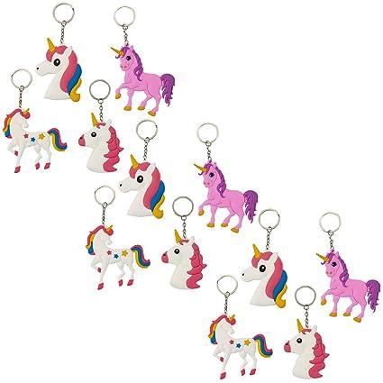 Rainbow Unicorn Llavero - 12-Pack Unicorn recuerdo de la ...