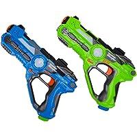 WISHTIME Laser Tag Battle Pistole Spielzeug ZM17037 Multiplayer Battle Schießen Spiel Aktive Spielzeug Gun Blaster Feature Laser Tag für Kinder Jungen Erwachsene Familien 2 Pack(Zufällige Farbe)