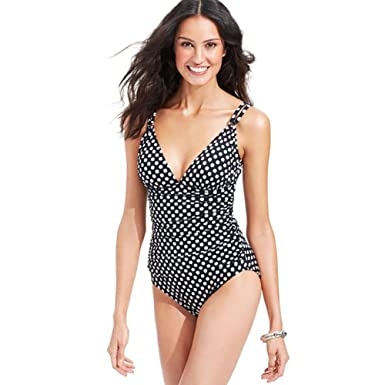 0e49deb286ee9 Swim Solutions Women's Polka-Dot Ruched One-Piece Swimsuit at Amazon  Women's Clothing store: