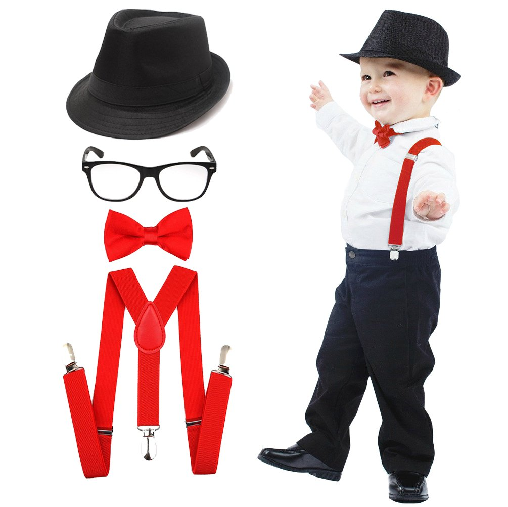 esrtyeryh Kid Costume 1920's Boys Fedora Gangster Hat Suspenders Bow Tie Nerd Fake Glasses
