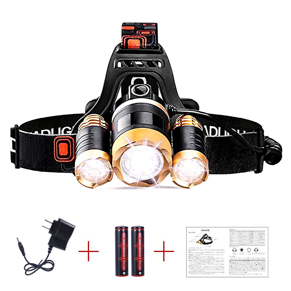 JUDYelc LED Head Light, 6000 Lumen Professional LED Headlamp, 4 Modes Bright Headlights with Rechargeable Battery Powered Waterproof Helmet Light for Camping Running Hiking and Reading Outdoor