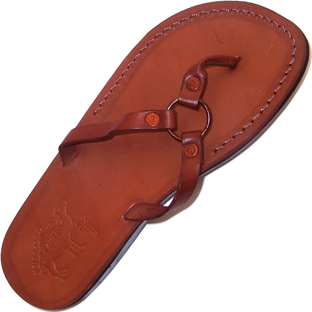 Women/Girls Genuine Leather Biblical Sandals / Flip flops (Jesus - Yashua) Jericho Style II - Holy Land Market Camel Trademark - European 37