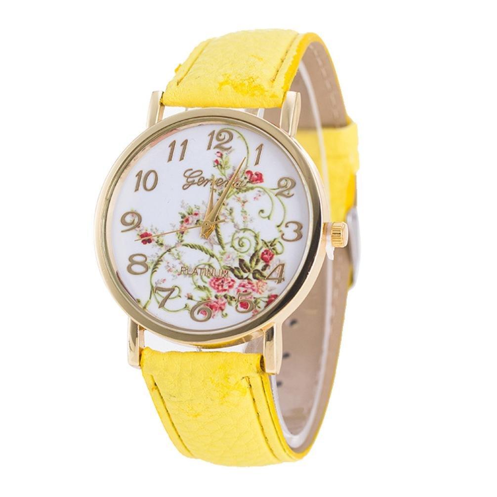 ZLOLIA Geneva Fashion Women Flowers Watches Sport Analog Quartz Wrist Watch (YE)