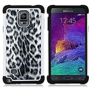 BullDog Case - FOR/Samsung Galaxy Note 4 SM-N910 N910 / - / FURRY STYLE PANTHER GREY PATTERN LEOPARD /- H??brido Heavy Duty caja del tel??fono protector din??mico - silicona suave