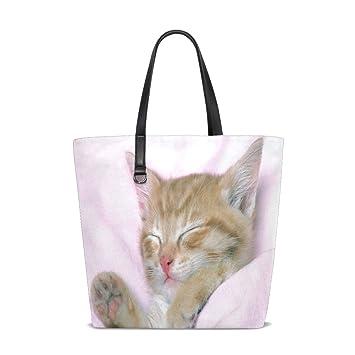 Amazon.com   Cute Sleeping Cat Tote Bag Purse Handbag Womens ...