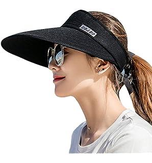 05e244d90757a5 Sun Visor Hats for Women, Large Brim UV Protection Summer Beach Cap, 5.5'