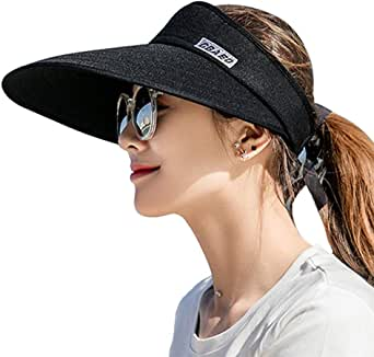 AUNIY Sun Visor Hats for Women, Large Brim UV Protection Summer Beach Cap, 5.5''Wide Brim