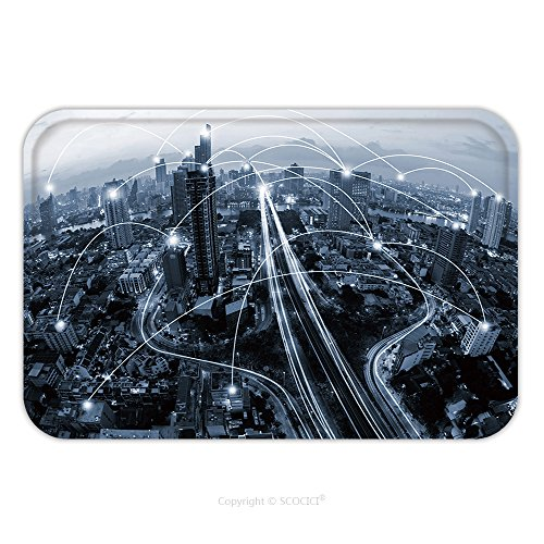 Flannel Microfiber Non-slip Rubber Backing Soft Absorbent Doormat Mat Rug Carpet Blue Tone City Scape And Network Connection Concept 411942079 for Indoor/Outdoor/Bathroom/Kitchen/Workstations (City Scape Backdrop)