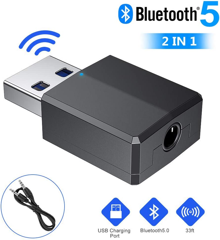 Wireless Bluetooth Transmitter Receiver with 3.5mm Digital Audio for PC//Home//Headphones//TV//Car Bluetooth Adapter Receiver 5.0 USB Dongle Hi-fi Bluetooth 5.0 USB Dongle Adapter Bluetooth Adapter
