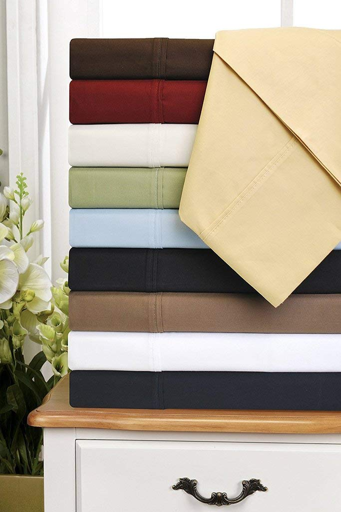 600-TC Egyptian Cotton -Twin Size Mattress Fits 10-12 Inches Fully Elastic Deep Pocket Black Stripe } Mega Sale on  Twin Size 39 X 75 1 PC Fitted Sheet