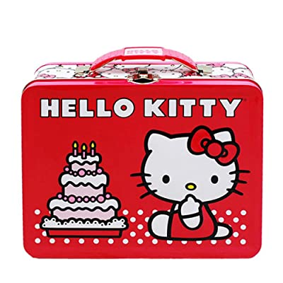 Hello Kitty Birthday Cake Embossed Metal Lunch Box: Lunch Boxes: Kitchen & Dining