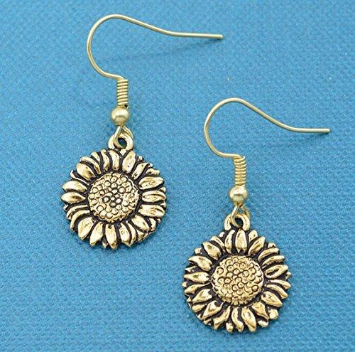 Sunflower earrings in gold toned metal. Sunflower earrings. Sunflower gifts. Sunflower Jewelry. Sunflower charm. Sunflower earrings