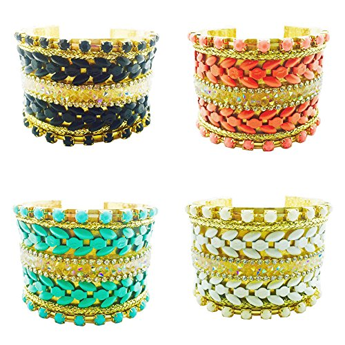 FUNKtional Wearables Fitbit Bracelet for Fitbit Flex or Flex 2 Fitness Activity Trackers - The Kourtney Colorful Iridescent Beaded Gold Cuff Fitbit Bracelet - 4 Colors (White, Fitbit Flex 2)