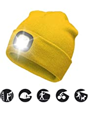 ATNKE LED Lighted Beanie Cap, USB Rechargeable Running Hat Ultra Bright 4 LED Waterproof Light Lamp and Flashing Alarm Headlamp Multi-Color