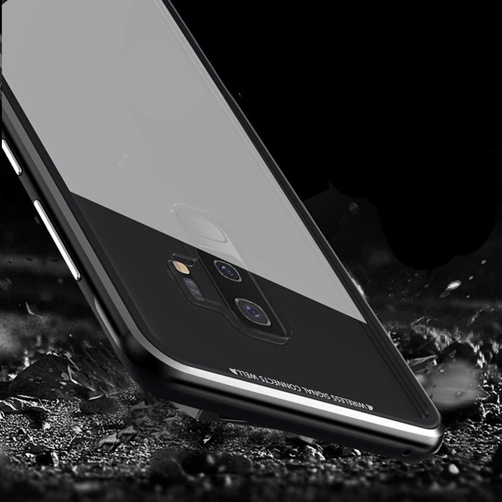 ACHAOHUIXI ファッション透明Tpu携帯電話シェル落下防止エッジング金属フレームガラス携帯電話セット電話ケースサムスンS9、S9プラス (Color : 銀, Edition : S9)