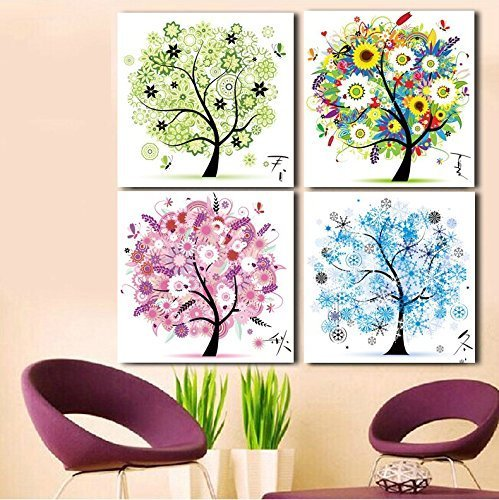 (Cross stitch, tree, spring, summer, autumn and winter, 4 pairs, P0001)