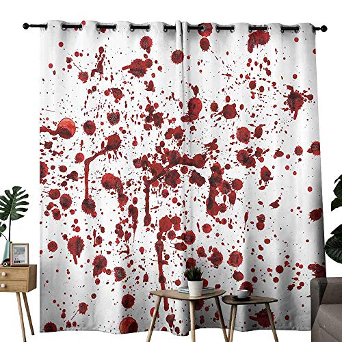 duommhome Bloody Bathroom Curtain Splashes of Blood Grunge Style Bloodstain Horror Scary Zombie Halloween Themed Print Block Light Protection Privacy W84 xL96 Red White ()