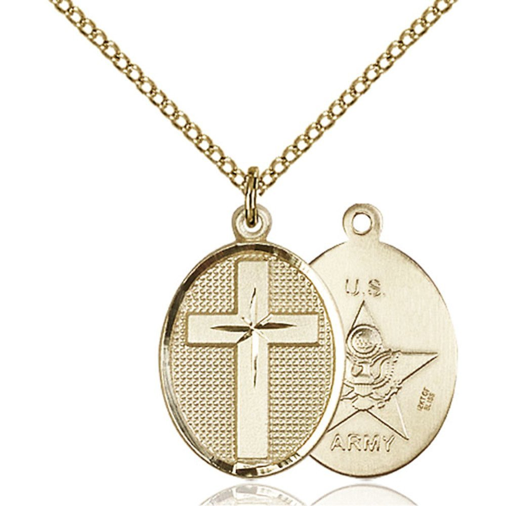 Gold Filled Cross / Army Pendant 7/8 x 1/2 inches with Gold Filled Lite Curb Chain