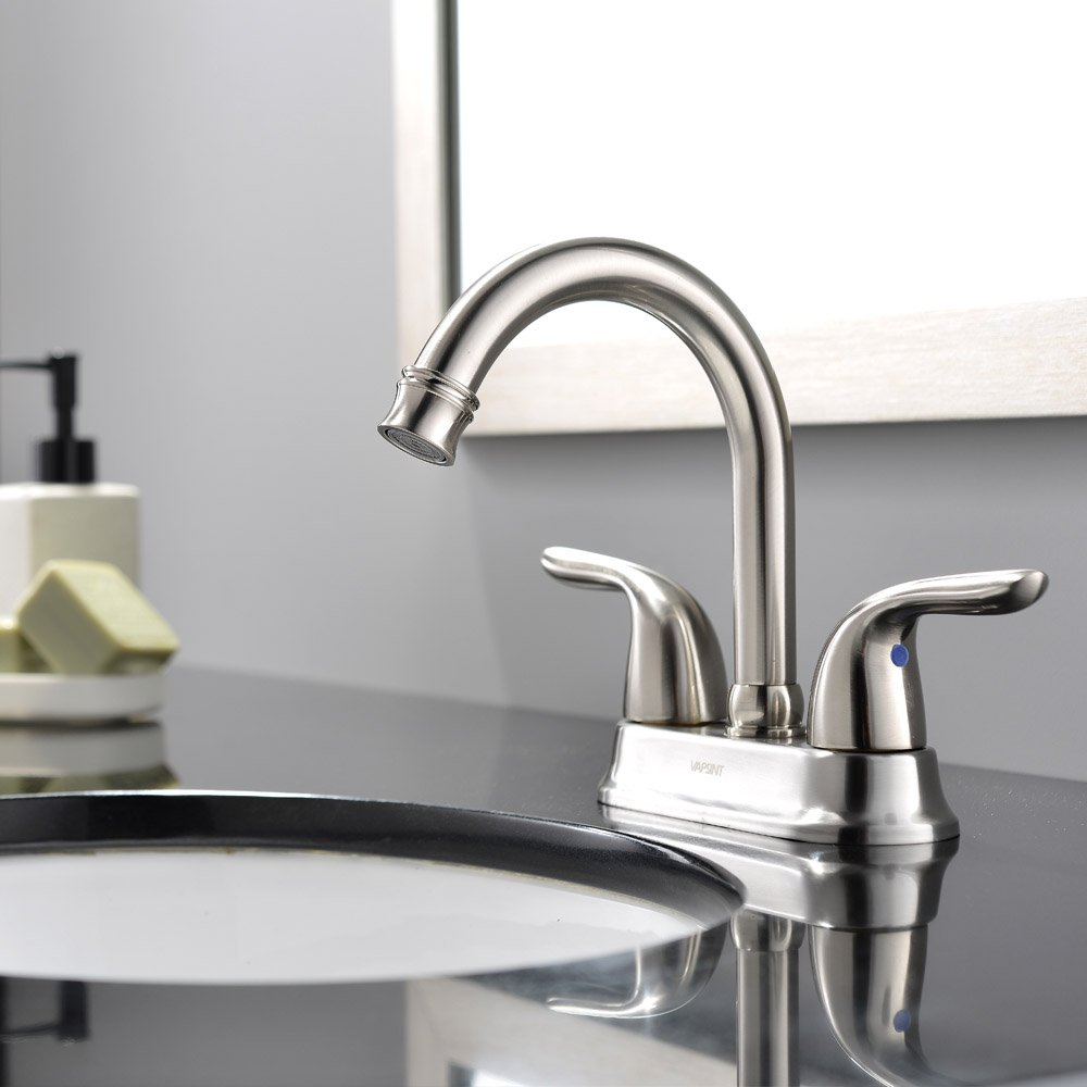 Ufaucet Modern 2 Handle Brushed Nickel Bathroom Sink Faucet, Vessel Vanity Sink  Faucet Without Pop