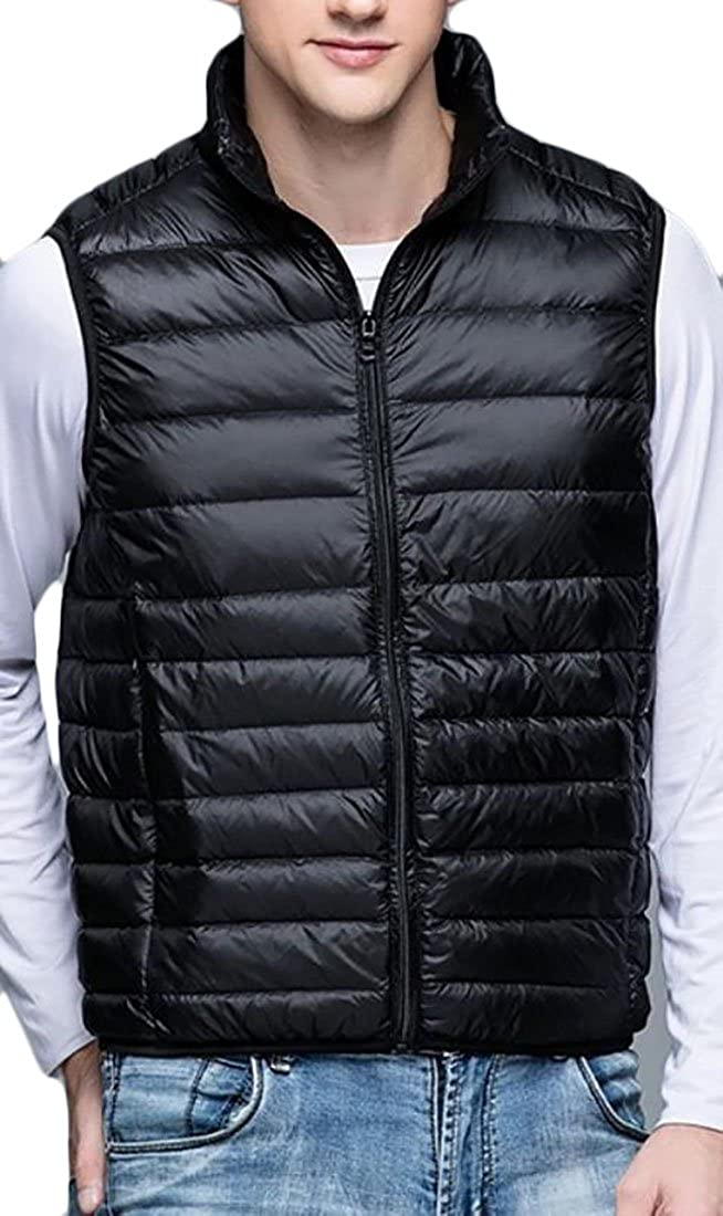 ARRIVE GUIDE Mens Slim Lightweight Packable Puffer Stand Collar Down Vest