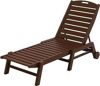 product image for POLYWOOD NAW2280MA Nautical Wheeled Chaise, Stackable, Mahogany