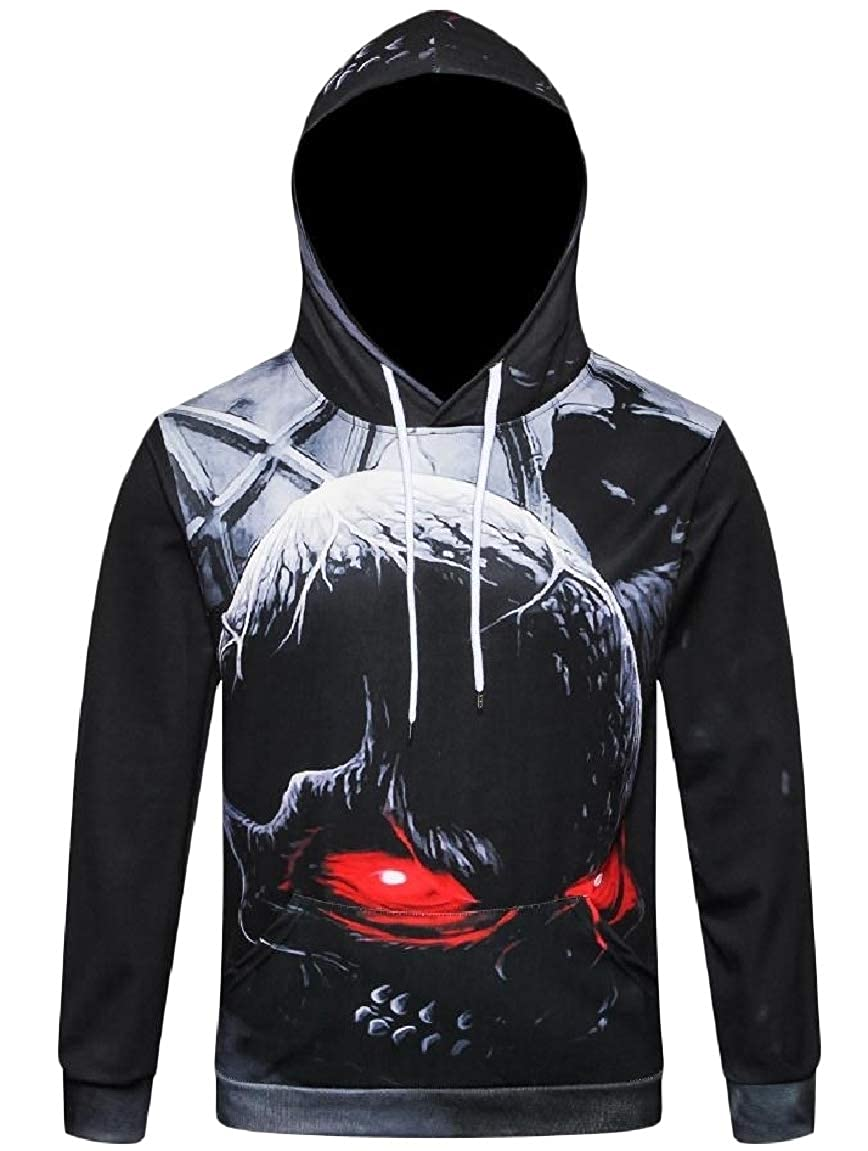 Mirrliy Mens Skull Hoodie Pocket Halloween Leisure Oversized Sweatshirts